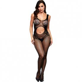 OPEN FRONT CROTCHLESS BODYSTOCKING - Imagen 1