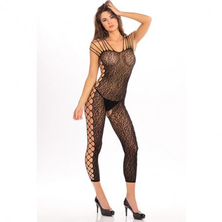 ANIMAL CROTCHLESS BODYSTOCKING DE MALLA - NEGRO - Imagen 1