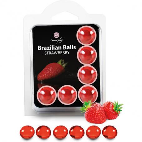 SECRET PLAY SET 6 BRAZILIAN BALLS AROMA FRESA - Imagen 1
