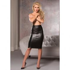 FAUX LEATHER KNEE LENGTH SKIRT - Imagen 1