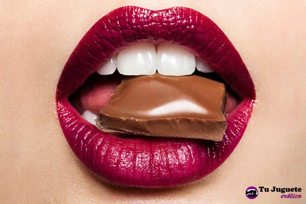 Chocolate en la boca